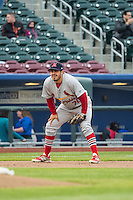 Alex Meija (70) of the Memphis Redbirds on defense against the Omaha Storm Chasers in Pacific Coast League action at Werner Park on April 24, 2015 in Papillion, Nebraska.  (Stephen Smith/Four Seam Images)