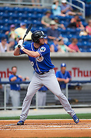 Biloxi Shuckers pitcher Brooks Hall (20) at bat during the first game of a double header against the Pensacola Blue Wahoos on April 26, 2015 at Pensacola Bayfront Stadium in Pensacola, Florida.  Biloxi defeated Pensacola 2-1.  (Mike Janes/Four Seam Images)