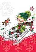 Sharon, CHRISTMAS CHILDREN, WEIHNACHTEN KINDER, NAVIDAD NIÑOS, GBSS,sledge, paintings+++++,GBSSC50XJA,#XK#