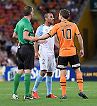 BRISBANE, AUSTRALIA - OCTOBER 30: Brett Holman of the Roar and Manny Muscat of Melbourne confront each other during the round 5 Hyundai A-League match between the Brisbane Roar and Melbourne City at Suncorp Stadium on November 4, 2016 in Brisbane, Australia. (Photo by Patrick Kearney/Brisbane Roar)