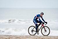 Steve Chainel (FRA)<br /> <br /> racing on the coastline<br /> <br /> UCI 2021 Cyclocross World Championships - Ostend, Belgium<br /> <br /> Elite Men's Race<br /> <br /> ©kramon