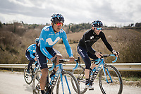 Team Movistar during the race reconnaissance 1 day prior to the 13th Strade Bianche 2019 (1.UWT)<br /> One day race from Siena to Siena (184km)<br /> <br /> ©kramon