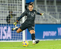ORLANDO, FL - FEBRUARY 21: Laurina Oliveros #12 of Argentina punts the ball during a game between Canada and Argentina at Exploria Stadium on February 21, 2021 in Orlando, Florida.