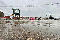 Hochwasser im Gernsheimer Hafen - Gernsheim 03.02.2021: Hochwasser am Gernsheimer Rheinhafen