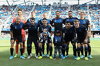 SAN JOSE, CA - SEPTEMBER 29: San Jose Earthquakes starting XI during a Major League Soccer (MLS) match between the San Jose Earthquakes and the Seattle Sounders on September 29, 2019 at Avaya Stadium in San Jose, California.