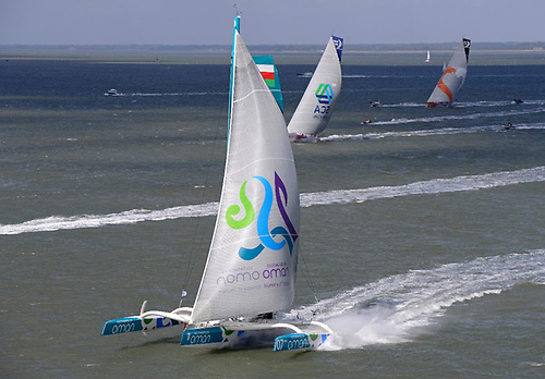 Sidney Gavignet's MOD 70 Musandam-Oman Sail team sailed an epic race in the 2014 edition of the Sevenstar Round Britain and Ireland Race and still hold the outright world record of 3 days 03:32:36