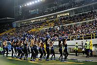BOGOTÁ-COLOMBIA, 17–04-2019: Bastoneras de Millonarios animan a su equipo durante partido de la fecha 16 entre Millonarios y Deportes Tolima, por la Liga Águila I 2019, jugado en el estadio Nemesio Camacho El Campín de la ciudad de Bogotá. / Cheerleaders of Millonarios cheer for their team during a match of the 16th date between Millonarios and Deportes Tolima, for the Aguila Leguaje I 2019 played at the Nemesio Camacho El Campin Stadium in Bogota city, Photo: VizzorImage / Luis Ramírez / Staff.