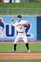 Lake County Captains shortstop Ernie Clement (31) throws to first base during the first game of a doubleheader against the South Bend Cubs on May 16, 2018 at Classic Park in Eastlake, Ohio.  South Bend defeated Lake County 6-4 in twelve innings.  (Mike Janes/Four Seam Images)