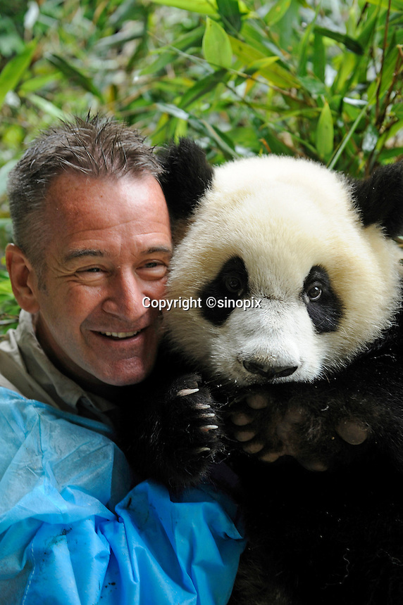 Nigel Marven, British wildlife presenter and television producer, poses with a one-year-old female panda named Yali at Chengdu Panda Base in Sichuan province, China. 25-Jul-2010
