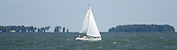 A sailboat on Lake Erie Wednesday, July 5, 2006, in Lakeside, Ohio.