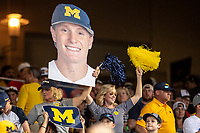 Michigan Wolverines fans celebrate shortstop Jack Blomgren (2) during Game 6 of the NCAA College World Series against the Florida State Seminoles on June 17, 2019 at TD Ameritrade Park in Omaha, Nebraska. Michigan defeated Florida State 2-0. (Andrew Woolley/Four Seam Images)