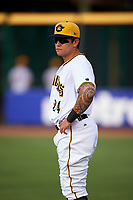 Bradenton Marauders Trace Tam Sing (24) before a game against the Clearwater Threshers on April 18, 2017 at LECOM Park in Bradenton, Florida.  Clearwater defeated Bradenton 4-2.  (Mike Janes/Four Seam Images)