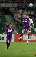 27th March 2021; HBF Park, Perth, Western Australia, Australia; A League Football, Perth Glory versus Newcastle Jets; Andy Keogh of Perth Glory wins the header against Lachlan Jackson of the Newcastle Jets