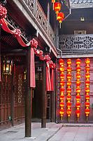 Yangzhou, Jiangsu, China.  Traditional Red Lanterns Decorating Inner Courtyard of the 19th-century Salt Merchant's House of Lu Shaoxu.