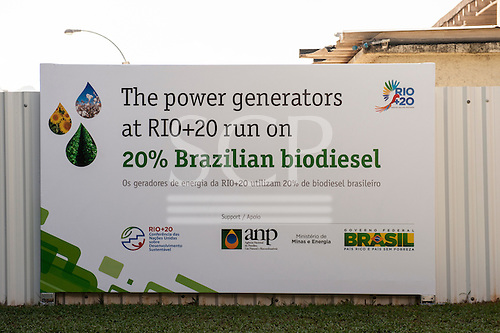 A sign announces that the power generators at the conference run on 20% Brazilian biodiesel. United Nations Conference on Sustainable Development (Rio+20), Rio de Janeiro, Brazil, 14th June 2012. Photo © Sue Cunningham.