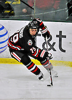 28 January 2012: Northeastern University Huskies' forward Cody Ferriero, a Sophomore from Essex, MA, in action against the University of Vermont Catamounts at Gutterson Fieldhouse in Burlington, Vermont. The Huskies defeated the Catamounts 4-2 in the second game of their 2-game Hockey East weekend series. Mandatory Credit: Ed Wolfstein Photo