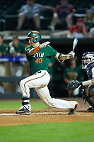 Joe Gomez (40) of the Miami Hurricanes follows through on his swing against the North Carolina Tar Heels in the second semifinal of the 2017 ACC Baseball Championship at Louisville Slugger Field on May 27, 2017 in Louisville, Kentucky. The Tar Heels defeated the Hurricanes 12-4. (Brian Westerholt/Four Seam Images)