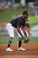 Birmingham Barons third baseman Ti'Quan Forbes (10) during a Southern League game against the Chattanooga Lookouts on May 2, 2019 at Regions Field in Birmingham, Alabama.  Birmingham defeated Chattanooga 4-2.  (Mike Janes/Four Seam Images)