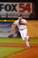 Huntsville Stars second baseman Jeff Bianchi #14 on a MLB rehab assignment during a game against the Tennessee Smokies on April 16, 2013 at Joe W Davis Municipal Stadium in Huntsville, Alabama.  Tennessee defeated Huntsville 4-3.  (Mike Janes/Four Seam Images)