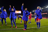 CARSON, CA - FEBRUARY 7: United States goalkeeper Ashlyn Harris #18 celebrates after the match with Ali Krieger #11, Crystal Dunn #19, and Julie Ertz #8 during a game between Mexico and USWNT at Dignity Health Sports Park on February 7, 2020 in Carson, California.