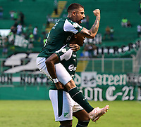 PALMIRA - COLOMBIA, 27-10-2018: Dany Rosero Valencia (Der) jugador del Deportivo Cali celebra después de anotar el segundo gol de su equipo a Jaguares de Córdoba durante partido por la fecha 17 de la Liga Águila II 2017 jugado en el estadio Palmaseca de la ciudad de Palmira. / Dany Rosero (R) Valencia player of Deportivo Cali celebrates after scoring the second goal of his team to Jaguares de Cordoba during match for the date 17 of the Aguila League II 2017 played at Palmaseca stadium in Palmira city.  Photo: VizzorImage/ Nelson Rios / Cont