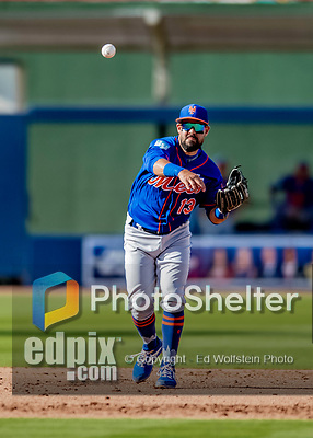 7 March 2019: New York Mets infielder Luis Guillorme gets the first out in the 8th inning of a Spring Training Game against the Washington Nationals at the Ballpark of the Palm Beaches in West Palm Beach, Florida. The Nationals defeated the visiting Mets 6-4 in Grapefruit League, pre-season play. Mandatory Credit: Ed Wolfstein Photo *** RAW (NEF) Image File Available ***