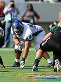 Armwood Hawks lineman Cody Waldrop #54 lines up on a play during the first quarter of the Florida High School Athletic Association 6A Championship Game at Florida's Citrus Bowl on December 17, 2011 in Orlando, Florida.  The score at halftime is Armwood 16 - Miami Central 14.  (Photo By Mike Janes Photography)