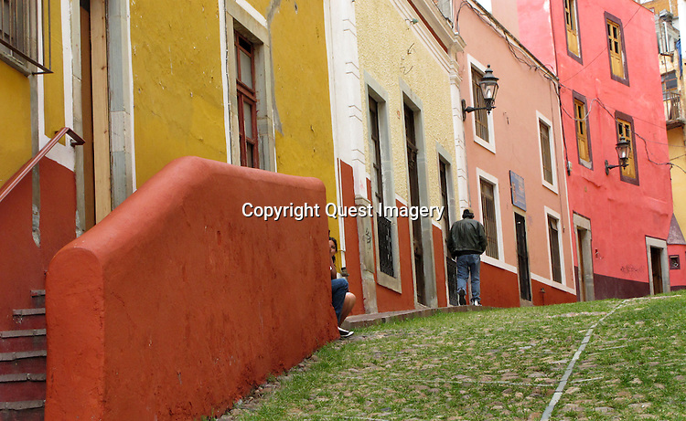 Guanajuato is a city and municipality in central Mexico and the capital of the state of the same name. It is located in a narrow valley, which makes the streets of the city narrow and winding.  The historic center of the city has numerous small plazas and colonial-era mansions, churches and civil constructions built using pink or green sandstone.<br /> Photo by Deirdre Hamill/Quest Imagery