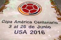 Photo before the match Peru vs Colombia, Corresponding to the quarterfinals of the America Cup 2016 Centenary at Metlife Stadium.<br /> <br /> Foto previo al partido Peru vs Colombia, Correspondiente a los Cuartos de Final de la Copa America Centenario 2016 en el Estadio Metlife, en la foto: Vestidores de Colombia con Banderin<br /> <br /> <br /> 17/06/2016/MEXSPORT/Osvaldo Aguilar.