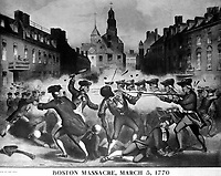 Boston Massacre, March 5, 1770.  Copy of chromolithograph by John Bufford after William L. Champney. ca. 1856. (Work Projects Administration)  <br /> NARA FILE #:  069-N-4877-C<br /> WAR & CONFLICT #:  2