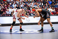 STANFORD, CA - March 7, 2020: Paul Bianchi of Little Rock and Devan Turner of Oregon State University during the 2020 Pac-12 Wrestling Championships at Maples Pavilion.