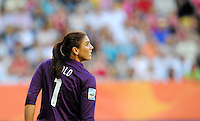 Hope Solo of team USA during the FIFA Women's World Cup at the FIFA Stadium in Dresden, Germany on June 28th, 2011.