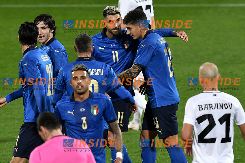 Vincenzo Grifo of Italy (R) celebrates with Giovanni Di Lorenzo and Federico Bernardeschi after scoring the goal of 1-0 during the friendly football match between Italy and Estonia at Artemio Franchi Stadium in Firenze (Italy), November, 11th 2020. Photo Andrea Staccioli/ Insidefoto