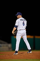 Pensacola Blue Wahoos relief pitcher Alex Phillips (6) during a Southern League game against the Biloxi Shuckers on May 3, 2019 at Admiral Fetterman Field in Pensacola, Florida.  Pensacola defeated Biloxi 10-8.  (Mike Janes/Four Seam Images)