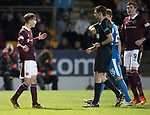 St Johnstone v Hearts…23.12.17…  McDiarmid Park…  SPFL<br />Referee Craig Levein sends off Harry Cochrane<br />Picture by Graeme Hart. <br />Copyright Perthshire Picture Agency<br />Tel: 01738 623350  Mobile: 07990 594431