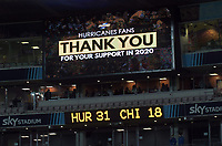 The scoreboard at the end of the Super Rugby Aotearoa match between the Hurricanes and Chiefs at Sky Stadium in Wellington, New Zealand on Saturday, 8 August 2020. Photo: Dave Lintott / lintottphoto.co.nz