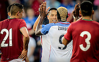 Kansas City, KS. - May 28, 2016: The U.S. Men's national team take a 3-0 lead over Bolivia from a second Gyasi Zardes goal in second half action during an international friendly tuneup match prior to the opening of the 2016 Copa America Centenario at Children's Mercy Park.