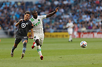 SAINT PAUL, MN - JUNE 23: Adrien Hunou #23 of Minnesota United FC and Jhohan Romana #3 of Austin FC battle for the ball during a game between Austin FC and Minnesota United FC at Allianz Field on June 23, 2021 in Saint Paul, Minnesota.
