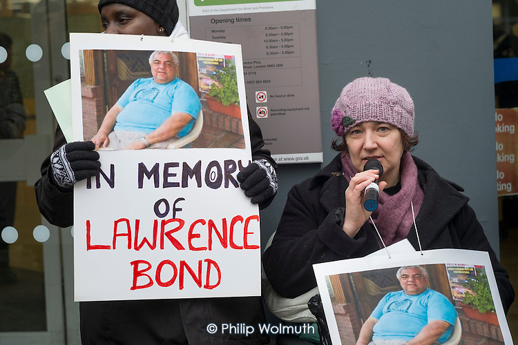 Clare Glasman of Winvisible. Vigil for Lawrence Bond, who died after being found fit for work and losing his disability benefits, Kentish Town Jobcentre London.