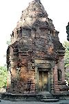 Angkorian temple Preah Ko at Roluos (late 9th century) 880.<br /> Brick tower.<br /> Preah Ko temple was built in the reign of Indravarma I. It was the first monument built at the site of Hariharalaya, the ancient capital city of the Khmers. Preah Ko temple was dedicated to the worship of Shiva.