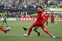 SEATTLE, WA - NOVEMBER 10: Victor Rodriguez #8 of the Seattle Sounders FC gets behind Omar Gonzalez #44 of Toronto FC and scores the game's second goal during a game between Toronto FC and Seattle Sounders FC at CenturyLink Field on November 10, 2019 in Seattle, Washington.
