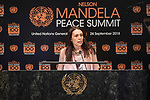 Opening Plenary Meeting of the Nelson Mandela Peace Summit<br /> <br /> <br /> Her Excellency Jacinda ARDERNPrime Minister and Minister for Arts, Culture and Heritage, and National Securityand Intelligence of New Zealand