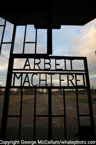 Arbeit Macht Frei message in wrought iron gate at entrance to Sachsenhausen concentration camp  Germany