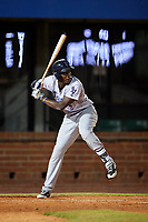 Pensacola Blue Wahoos right fielder Aristides Aquino (2) at bat during a game against the Mobile BayBears on April 25, 2017 at Hank Aaron Stadium in Mobile, Alabama.  Mobile defeated Pensacola 3-0.  (Mike Janes/Four Seam Images)