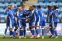Gillingham players congratulate Jordan Graham after scoring their third goal during Gillingham vs Oxford United, Sky Bet EFL League 1 Football at the MEMS Priestfield Stadium on 10th October 2020