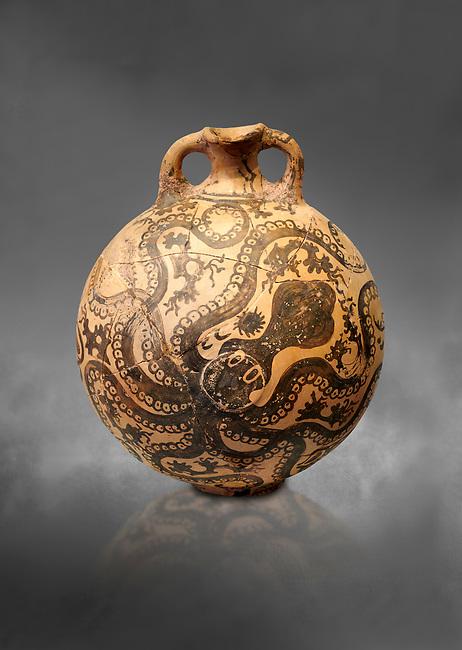 Minoan 2 handled flask with Marine style stylised octopus design,   Palaikastro,  1500-1450 BC; Heraklion Archaeological  Museum, grey background