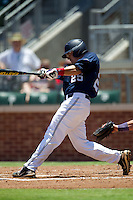 Third baseman Andrew Mistone #25 of the Ole Miss Rebels swings during the NCAA Regional baseball game against the Texas Christian University Horned Frogs on June 1, 2012 at Blue Bell Park in College Station, Texas. Ole Miss defeated TCU 6-2. (Andrew Woolley/Four Seam Images).