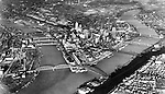 Pittsburgh PA: View of the City of Pittsburgh and the three rivers from an airplane.