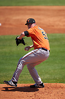 Baltimore Orioles pitcher Jensen Elliott (53) during a Minor League Spring Training game against the Detroit Tigers on April 14, 2021 at TigerTown in Lakeland, Florida.  (Mike Janes/Four Seam Images)