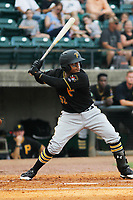 Bristol Pirates catcher Gabriel Brito (52) at bat during a game against the Greeneville Reds at Pioneer Field on June 19, 2018 in Greeneville, Tennessee. Bristol defeated Greeneville 10-2. (Robert Gurganus/Four Seam Images)